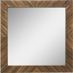 Stonebriar Square Textured Wooden Chevron Hanging Wall Mirror with Attached Mounting Brackets, Ru...   Amazon (US)