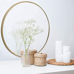 Barnyard Designs Round Decorative Gold Metal Wall Hanging Mirror, Rustic Vintage Mirror Wall Deco...   Amazon (US)