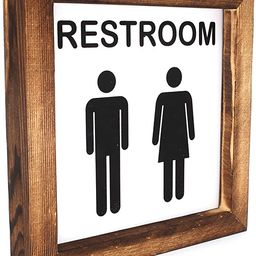 Ku-dayi Restroom Framed Block Sign 8 x 8 inches Rustic Farmhouse Style Solid Wood Sign Art Standi... | Amazon (US)