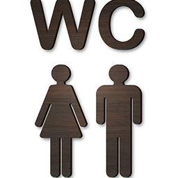 Wood Self-Adhesive WC Brown Sign - Rustic Bathroom Decor - Toilet Door Sign - Antique Style Restr... | Amazon (US)