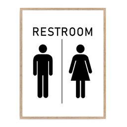 Restroom Sign Print, Bathroom Sign Poster, Farmhouse Bathroom Décor 8x10 Unframed | Amazon (US)