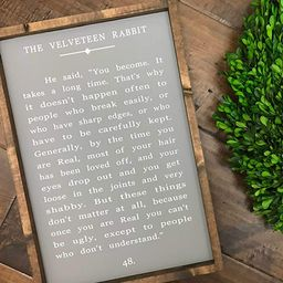 """Zacathan432 16"""" x 20"""" Frame Wood Sign, Velveteen Rabbit Book Page Quote Sign Wood Sign Farmhouse ... 