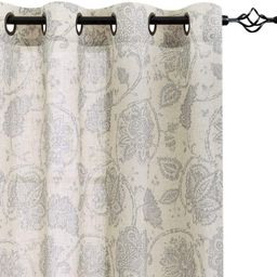 Paisley Scroll Printed Linen Curtains, Grommet Top - Medallion Design Jacobean Floral Printed Cur... | Amazon (US)