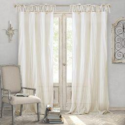 "Elrene Home Fashions Crushed Semi-Sheer Adjustable Tie Top Single Panel Window Curtain Drape, 52""... | Amazon (US)"