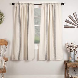 "Market Place Gray Grain Sack Stripe Panel Curtains, Set of 2, 63"" Long, Farmhouse Style Curtain, ... | Amazon (US)"