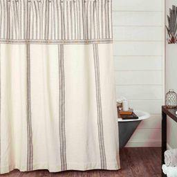 "Piper Classics Market Place Gray Grain Sack & Ticking Stripe Shower Curtain, 72"" x 72"", Gray & Na... | Amazon (US)"