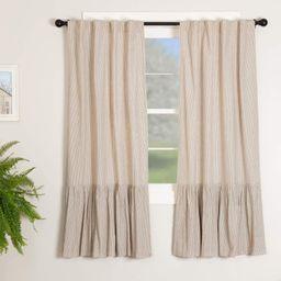 "Sara's Ticking Ruffled Panel Curtains, Set of Two, 63"" Long, Black & Cream Mini Mini Stripe, Vint... | Amazon (US)"