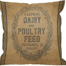 HGOD DESIGNS Throw Pillow Case Vintage Burlap Feed Sack Cotton Linen Square Cushion Cover Standar... | Amazon (US)