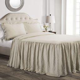 Lush Decor Neutral Ruffle Skirt Bedspread Shabby Chic Farmhouse Style Lightweight 3 Piece Set Que... | Amazon (US)