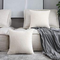 Home Brilliant Decorative Accent Pillow Covers Case Striped Corduroy Plush Velvet Cushion Cover f... | Amazon (US)