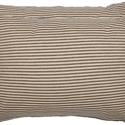 VHC Brands Farmhouse Bedding Sawyer Mill Ticking Cotton Striped Standard Pillow Case Set of 2, Ch... | Amazon (US)