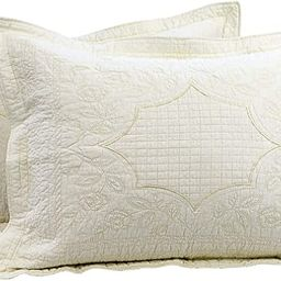 Brandream Creamy Beige Quilted Pillow Shams Standard Size Pillow Covers Set of 2 100% Cotton Vint... | Amazon (US)
