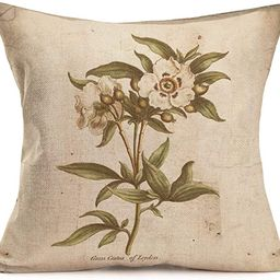 Fukeen Vintage Cotton Linen Throw Pillow Cases Plants Wild Flowers Leaves Pillow Cover Rustic Sty... | Amazon (US)