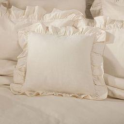 Piper Classics Ashley Natural Ruffled Pillow Cover, 18x18, Farmhouse Style Beige Cream Throw Pill... | Amazon (US)