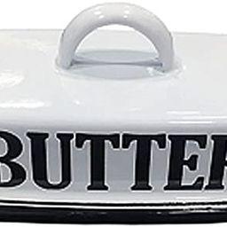 VIP- Vintage Farmhouse Style Enamel Butter Dish, White and Black   Amazon (US)