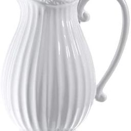 D'vine Dev 10 Inches Tall Large White Ceramic Pitcher Vase Decorative French Country Pitcher Vase...   Amazon (US)