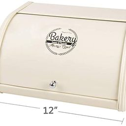 Home by Jackie Inc X458 Metal Bread Box/Bin/Kitchen Storage Containers with Roll Top Lid (Cream W...   Amazon (US)