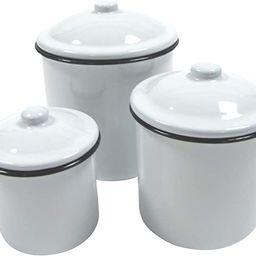 Treasure Gurus Rustic 3pc White Enamel Kitchen Canister Set Vintage Countertop Food Storage Decor   Amazon (US)
