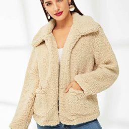 Pocket Front Teddy Coat | SHEIN