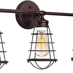 KingSo 3 Light Bathroom Vanity Light Fixture, Industrial Wire Cage Wall Sconces Rustic Farmhouse ... | Amazon (US)