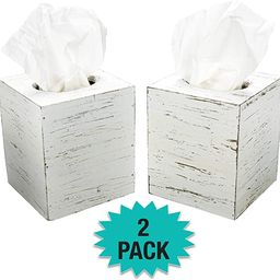Excello Global Products Rustic White Barnwood Tissue Box Cover: Tissue Cube Box Includes Slide-Ou... | Amazon (US)