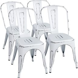 Furmax Metal Chairs Indoor/Outdoor Use Stackable Chic Dining Bistro Cafe Side Chairs Set of 4 (Di... | Amazon (US)