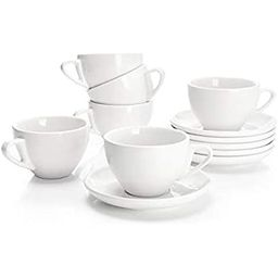 Sweese 403.001 Porcelain Cappuccino Cups with Saucers - 6 Ounce for Specialty Coffee Drinks, Latt... | Amazon (US)