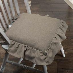 Piper Classics Ruffled Chambray Taupe-Grey Chair Pad, 15x15, Farmhouse Style | Amazon (US)
