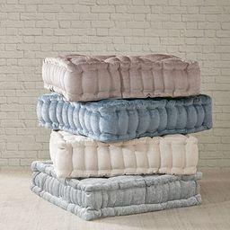 "Intelligent Design Azza Poly Chenille Square Floor Pillow Cushion, 20""x20""x5"", Ivory | Amazon (US)"