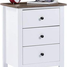 ChooChoo End Table Bedroom, Wooden Bedside Table 3-Drawer Nightstand, White | Amazon (US)