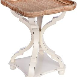 Rustic Farmhouse Accent End Table | Natural Top with Distressed White Wood Legs | Home Decor Side... | Amazon (US)
