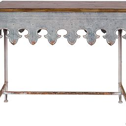 Creative Co-Op Metal Scalloped Edge Table with Wood Top, Distressed Zinc | Amazon (US)