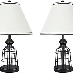 """Aspen Creative 40140-02 22"""" High Traditional Metal Wire Table Lamp, Matte Black 
