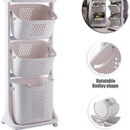 YGH 2/3 Layers Laundry Basket with Wheel Rolling Laundry Sorter, Baedroom Bathroom Dirty Clothes ... | Amazon (US)