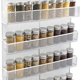 TQVAI 5 Tier Wall Mount Spice Rack Organizer Kitchen Spice Storage Shelf - Made of Sturdy Punchin... | Amazon (US)