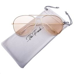 The Fresh Classic Aviator Frame Light Color Lens XL Oversized Sunglasses Gift Box | Amazon (US)