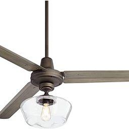 "60"" Turbina Modern Farmhouse Ceiling Fan with Light Kit LED Remote Control Oil Rubbed Bronze Hand... | Amazon (US)"