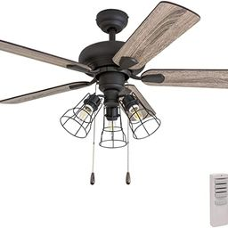 """Prominence Home 50752-01 Madison County Industrial Ceiling Fan (3 Speed Remote), 42"""", Barnwood/Tu... 