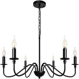 Z-LIGHT 6-Light Chandeliers Black Farmhouse Classic Candle Ceiling Hanging Light Fixture Rustic P... | Amazon (US)