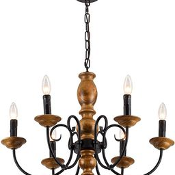 XIPUDA Ceiling Pendant Candle Light Fixture Farmhouse Chandelier Kitchen Island Lighting Wood Ame... | Amazon (US)