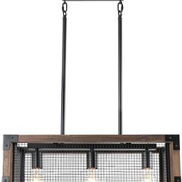 Anmytek Square Metal and Wood Chandelier Basket Pendant Three Lights Oil Black Finishing Iron Net... | Amazon (US)