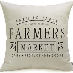 Farmhouse Pillow Covers with Farmers Market Quotes 18 x 18 Inch for Farmhouse Decor | Amazon (US)