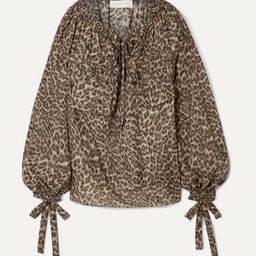 Suraya gathered leopard-print silk-charmeuse blouse | Net-a-Porter (Global excpt. US)