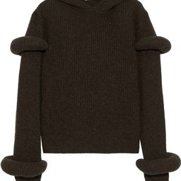 Army green Ribbed wool and alpaca-blend hoodie   Sale up to 70% off   THE OUTNET   J.W.ANDERSON  ...   The Outnet (UK and Europe)