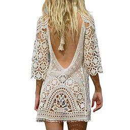 Jeasona Women's Bathing Suit Cover Up Crochet Lace Bikini Swimsuit Dress | Amazon (US)