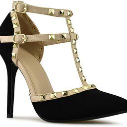 Premier Standard Women's Pointed Toe Studded Strappy High Heel Leather Pumps Stilettos Sandals | Amazon (US)