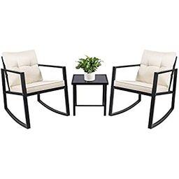 Devoko 3 Piece Rocking Bistro Set Wicker Patio Outdoor Furniture Porch Chairs Conversation Sets w...   Amazon (US)