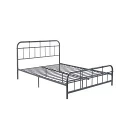 Queen Berthoud Industrial Iron Bed Charcoal Gray - Christopher Knight Home | Target