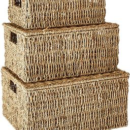 Trademark Innovations Rectangular Seagrass Baskets Lids (Set of 3), Brown   Amazon (US)
