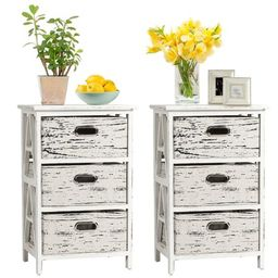 Gymax Set of 2 Chest w/3 Fabric Drawers Vintage Wood Frame End Side Table Nightstand   Walmart (US)